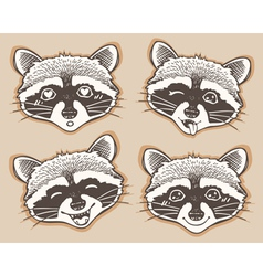 Set of positive emotions cartoon raccoon vector