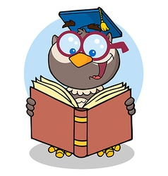 Owl teacher with graduate cap reading a book vector