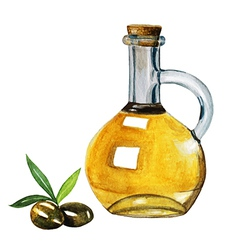 Watercolor extra olive oil bottle and olives with vector