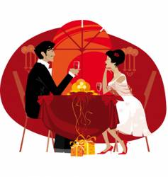 Couple at restaurant vector