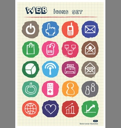 Doodle internet web icons set drawn by chalk vector