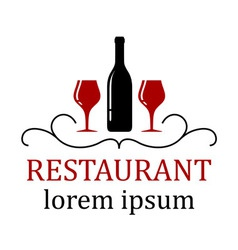 Restaurant background with wine glass and bottle vector