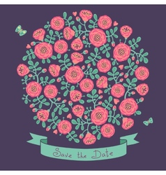 Save the date invitation with floral bouquet vector