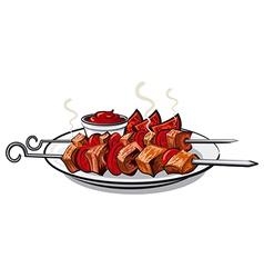 Grilled kebab vector