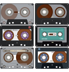 The complete set of the different audio cassettes vector