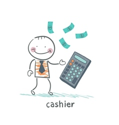 Cashier counts money on calculator vector