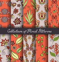 Set of 10 seamless floral patterns vector