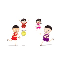 Little children playing volleyball vector