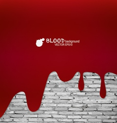 Happy halloween blood dripping on brick wall vector
