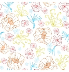 Vibrant tropical orange blue flowers vector