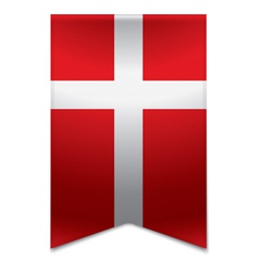 Ribbon banner - danish flag vector