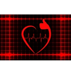 Healthy heart sign with ecg on a cover template vector