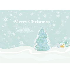 Christmas house and tree in snow-drift mountain vector