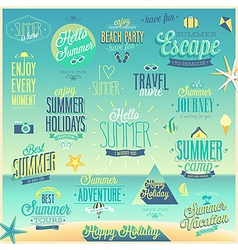 Summer sea emblems set vector