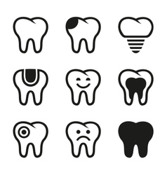 Tooth icons set vector