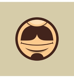 Smiling mouth with moustache in circle vector