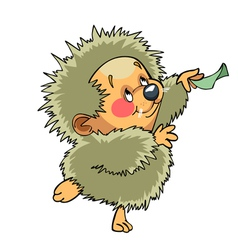 Cartoon funny hedgehog dancing vector