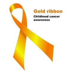 Gold ribbon childhood vector