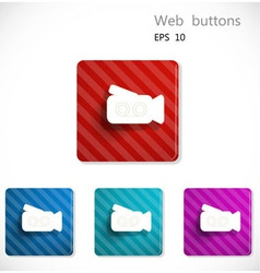 Buttons with icon of video camera vector