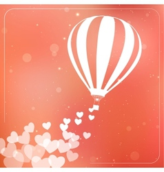 Hot air balloon with flying hearts romantic vector