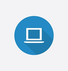 Laptop flat blue simple icon with long shadow vector