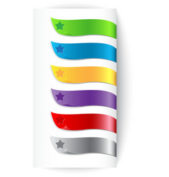 Set of colorful ribbons with star vector