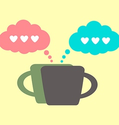 Coffee icon and lovers conversation vector