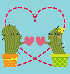 Loving couple of cactus vector