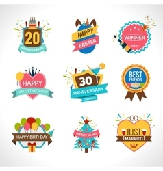 Celebration emblems set vector