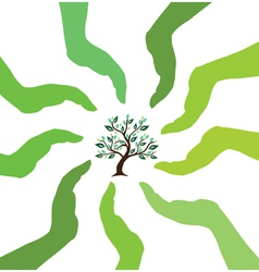 Hands caring tree vector