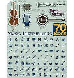 70 music instruments icons set vector