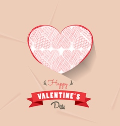 Happy valentines day with heart sketched vector