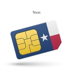 State of texas phone sim card with flag vector