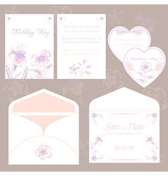Wedding invitation cards and envelope wedding set vector