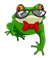 Cartoon green frog with a bow tie in glasses vector