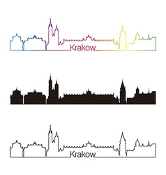 Krakow skyline linear style with rainbow vector