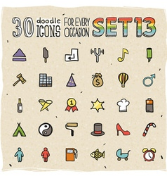 30 colorful doodle icons set 13 vector