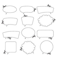 Scissors and speech bubbles vector
