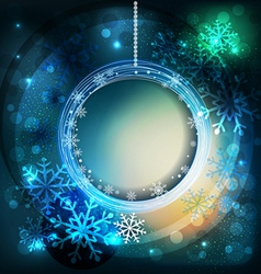 Shiny holiday background with snowflakes and frame vector