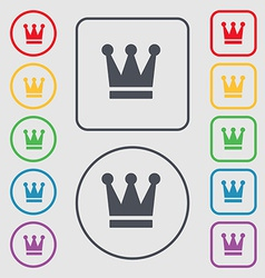 King crown icon sign symbol on the round and vector