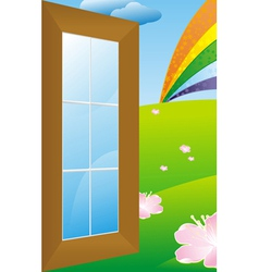 Door to meadow vector