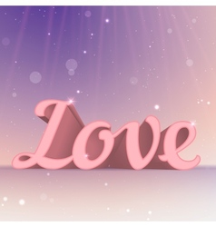 Realistic 3d pink love sign typography card vector