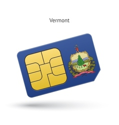 State of vermont phone sim card with flag vector