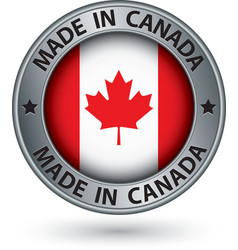 Made in canada silver label with flag vector