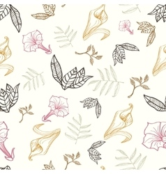 Floral gold pink brown tropical drawing vector