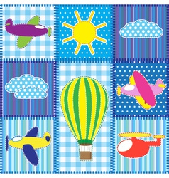 Patchwork with colorful aircraft vector