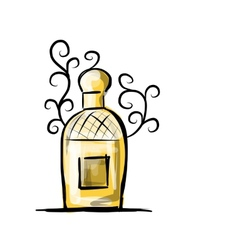 Sketch of perfume bottle for your design vector