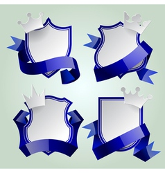 Badge set with ribbon and crown vector