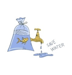 Colored doodle save water concept vector