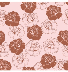 Seamless floral pink and brown roses pattern vector
